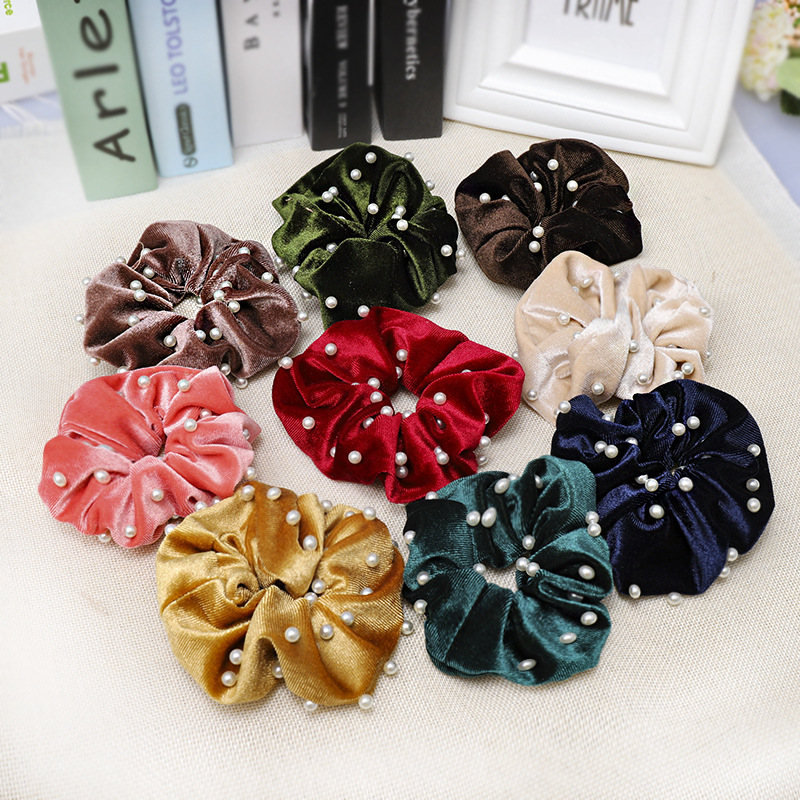 CN Hair Accessories Pearl Gold Velvet Scrunchie For Girls Solid Elastic Hair Bands For Women Large Intestine Hair Ties