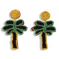 Girlgo ręcznie robione koraliki drzewo kokosowe Dangle kolczyki dla kobiet urok spadek wisiorek kolczyki siostra prezent bohema imprezowe biżuteria
