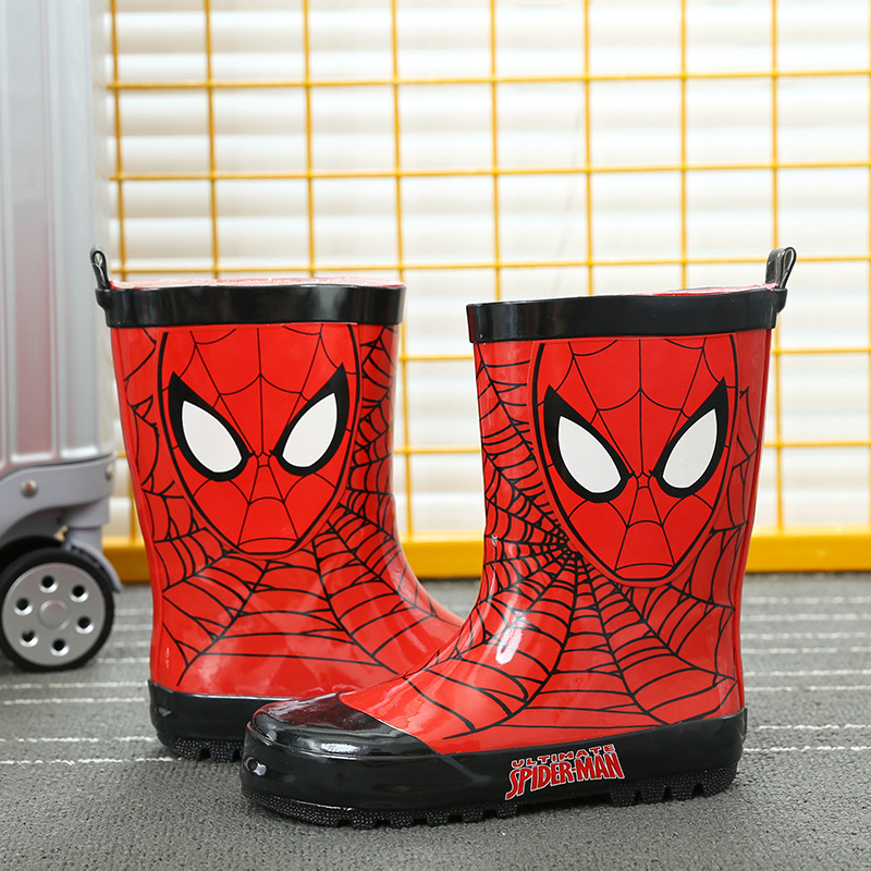 Disney cartoon fashion boy Spider-Man rain boots red non-slip rubber rain boots primary school water boots boys water shoes