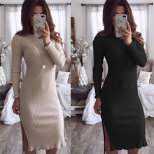Solid Knitted Autumn Winter Dress 2019 O-Neck Full Sleeve Long Women Dress Fashion Split Casual Vestidos Maxi Pencil Robe Femme цены