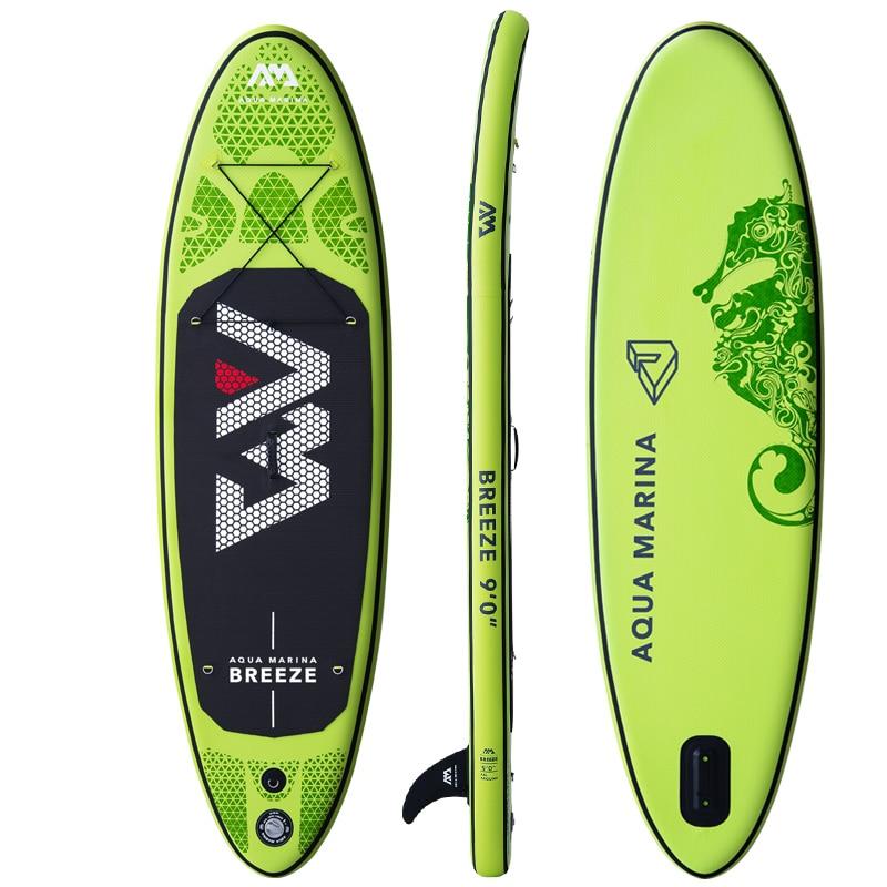 Surfboard 275*76*12cm AQUA MARINA BREEZE Inflatable SUP Stand Up Paddle Board Fishing Kayak Boat Leg Leash Seat Foldable Dinghy