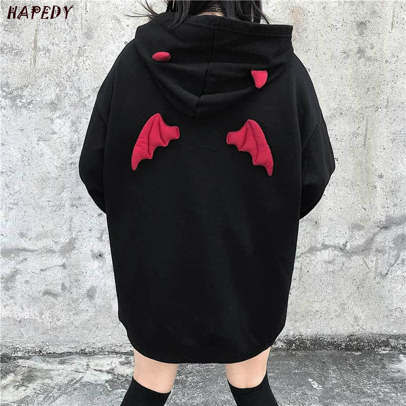 Hooded Pullover Devil Horn Spring Women Sweatshirts Sweat-Ca6865 Harajuku Loose Punk Gothic title=