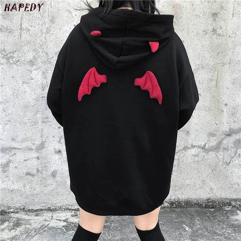 Spring Autumn Women Sweatshirts High Street Harajuku Cute Hoodies Punk Gothic Devil Horn Chic Hooded Pullover Loose Sweat CA6865