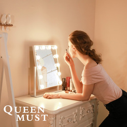 Hollywood Stijl Make-Up Spiegel met Verlichting Cosmetische Verlichte Vanity Spiegel 9x3W Dimbare LED Lampen Verlichte 10x Vergrootglas spiegel