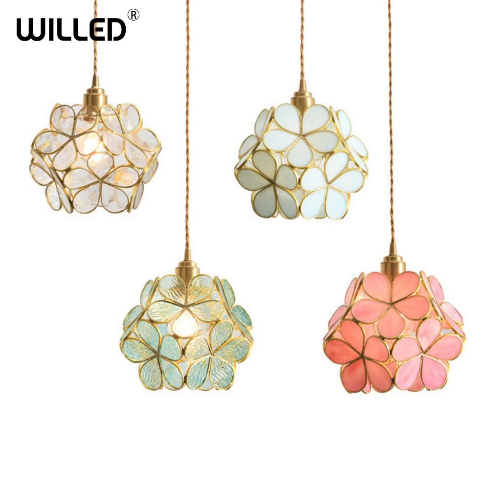 Glass Pendant Lamp Flower Lighting Japanese Loft LED Crystal Hanging Lights for Dining Room Bedroom Kitchen Art Deco Fixtures|Pendant Lights| |  - title=