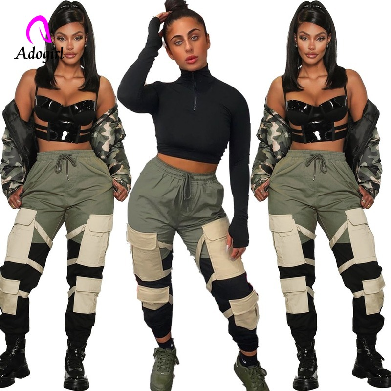 Army Green 2020 New Women Pants High Waist Spliced Pockets Jogging Trousers Casual Loose Fashion Outfits Sportwear Cargo Pants