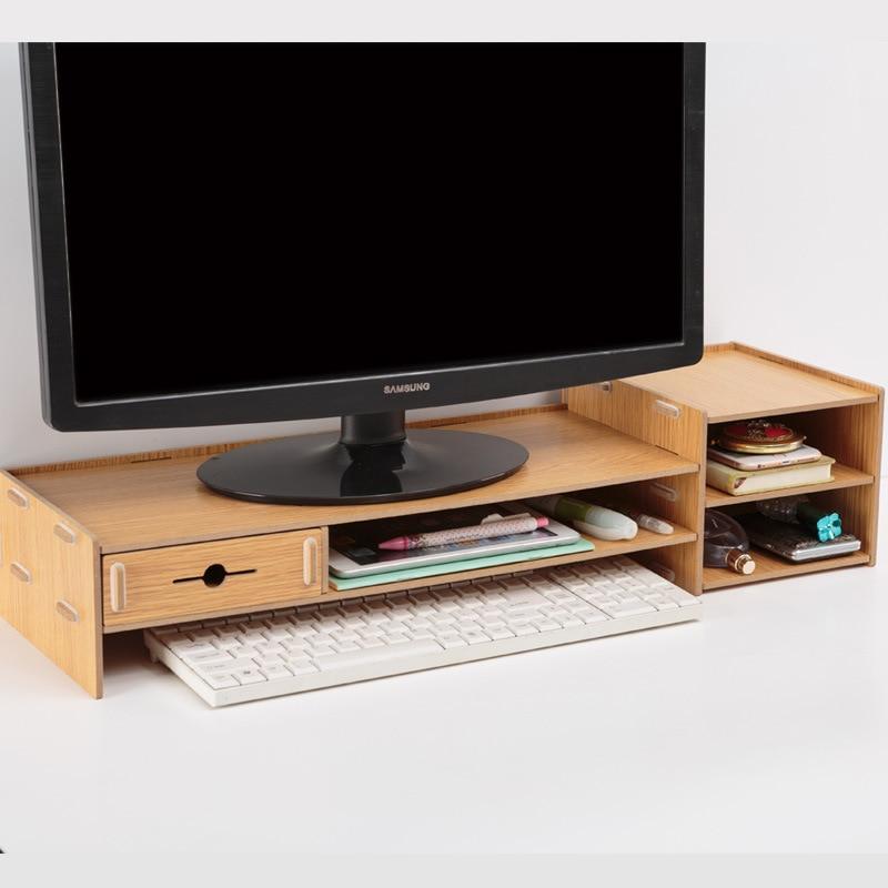 Multi-Function Desktop Monitor Stand Computer Screen Riser Wood Shelf Plinth Strong Laptop Stand Desk Holder For TV Notebook