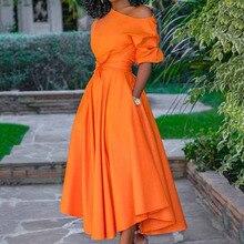 One Shoulder Pleated Women Long Dress Orange Midi Elegant Evening Party Dress Summer 2020 Half Sleeve Belted Robe de soiree stylish argyle printed long sleeve belted maxi dress for women