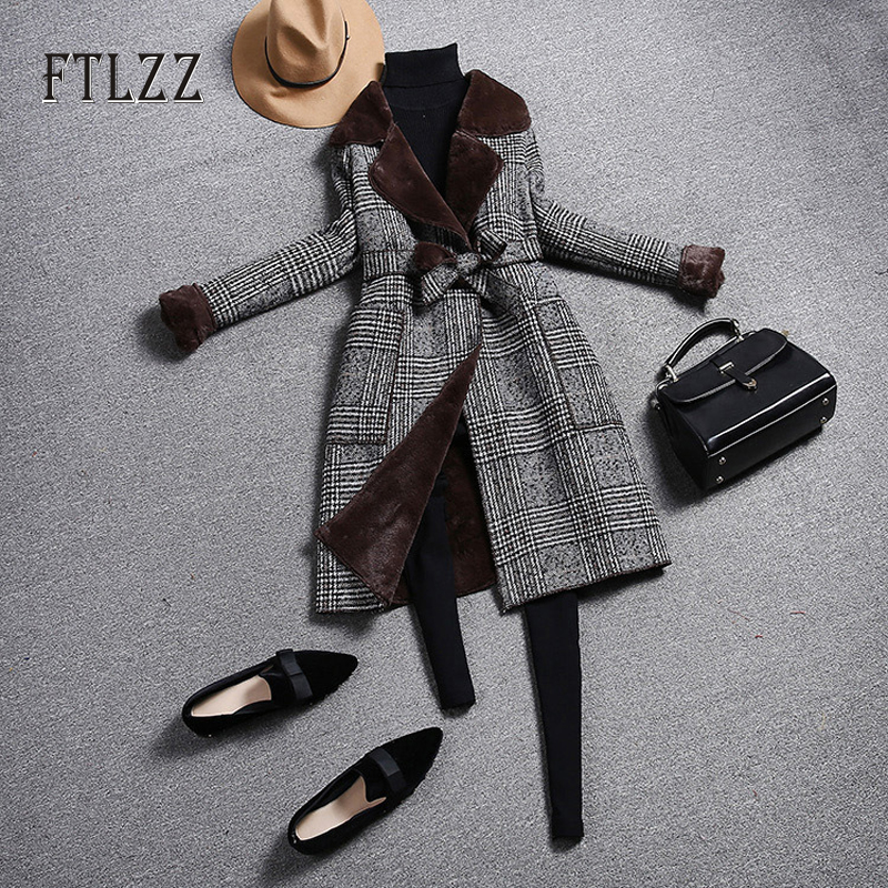 Fashion Vintage Plaid Wool Coat Women Slim Belt Turndown Collar Coats Ladies Korean Autumn Winter Warm Faux Wool Liner Outerwear