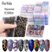FlorVida 10pcs/set 4*120cm Nail Foil Stickers Leopard Pattern Decal Design for Nails Salon Wholesale Art Decoration