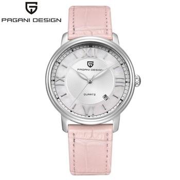 PAGANI DESIGN Fashion Casual Women Quartz Watch Automatic Date Pink Elegant Case Leather Waterproof Lady Watch Relogio Feminino
