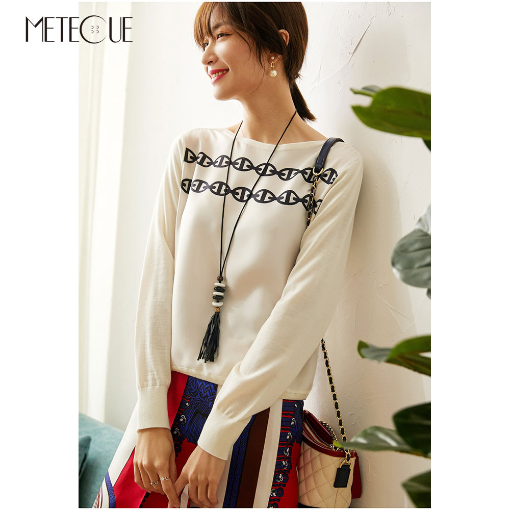 Twill Silk Knitted Patched Women Tops 2020 Spring Summer Fashion Printed Long Sleeve Women Sweaters Knitwears Multi Colors