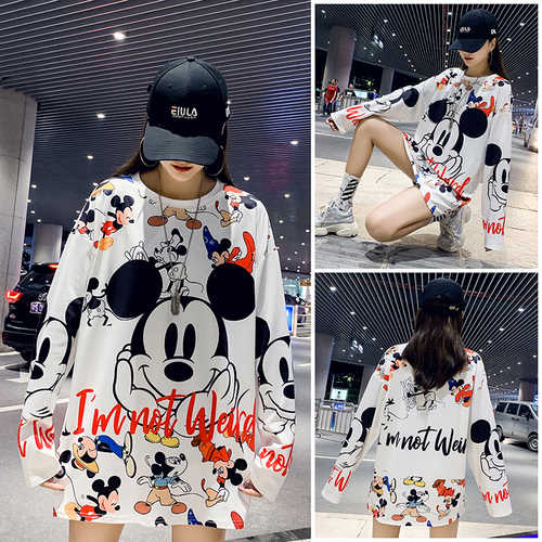 2019 Autumn Winter Mickey Digital Printed Women Hoodies Sweatshirt Long Tide Shot Actual Women Work Wear Fashion Oversize Tops