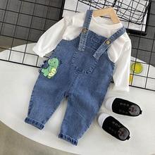 Denim Overalls Jumpsuits Trousers Pants Baby-Boys Kids Children Dinosaur New Korean Cartoon