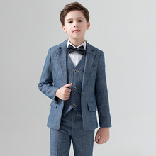 Cyan Kids Formal Wear Wedding Groom Tuxedos Two Piece Notched Lapel Flower Boys Children Party Suits 5 Piece