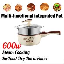 Mini wielofunkcyjna kuchenka elektryczna urządzenie do gotowania garnek pojedynczy lub podwójny warstwy gotowanie gotowanie gotowanie patelnia patelnia tanie tanio AUGIENB CN (pochodzenie) Parowa Pojedyncze dno 300W 600W(adjustable) 220 v STAINLESS STEEL