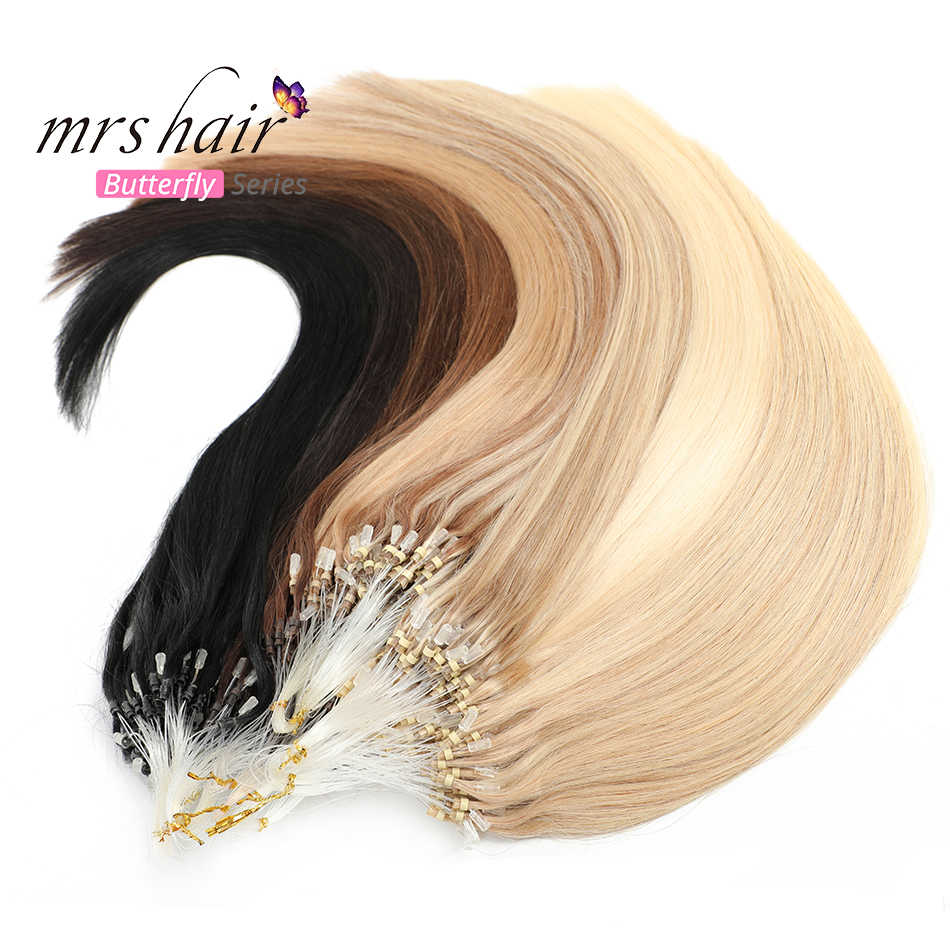 "MRSHAIR Micro Ring Hair Extensions 1g/Stand 50pieces Machine Remy Hair Micro Bead Loop Human Hair 14""-22"""