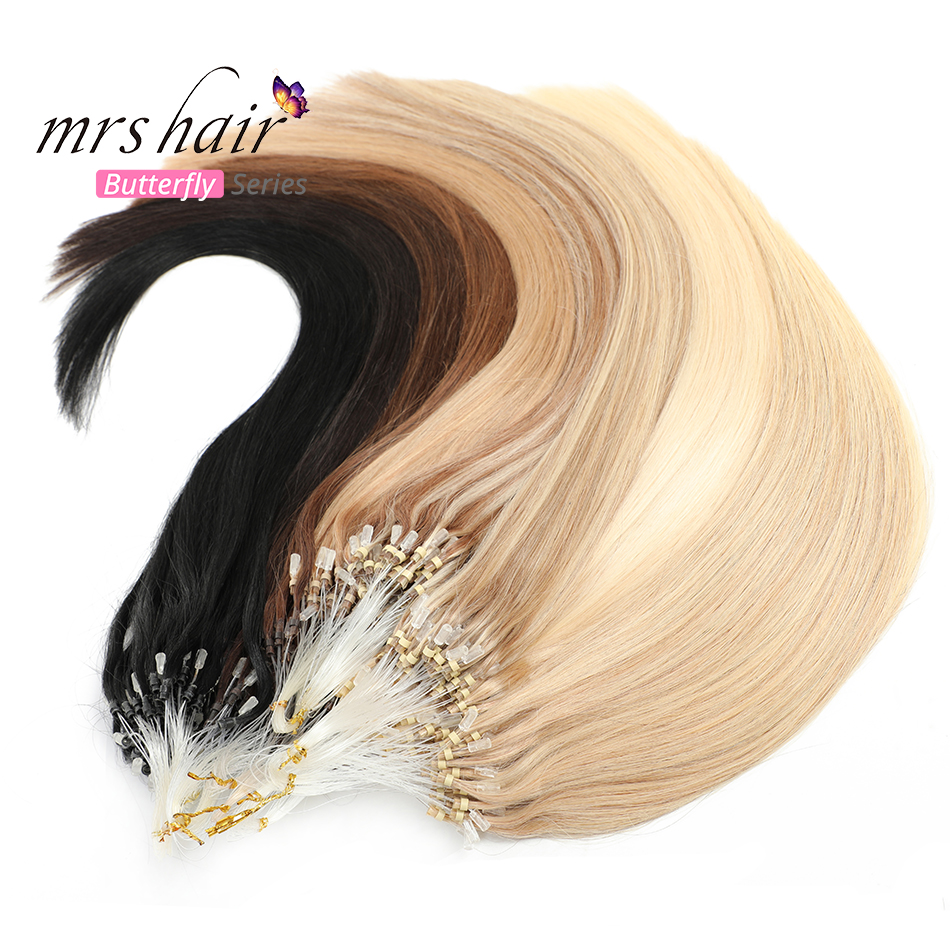 "MRSHAIR Micro Ring Hair Extensions 1g/Stand 50pieces Machine Remy Hair Micro Bead Loop Human Hair 14""-22"""