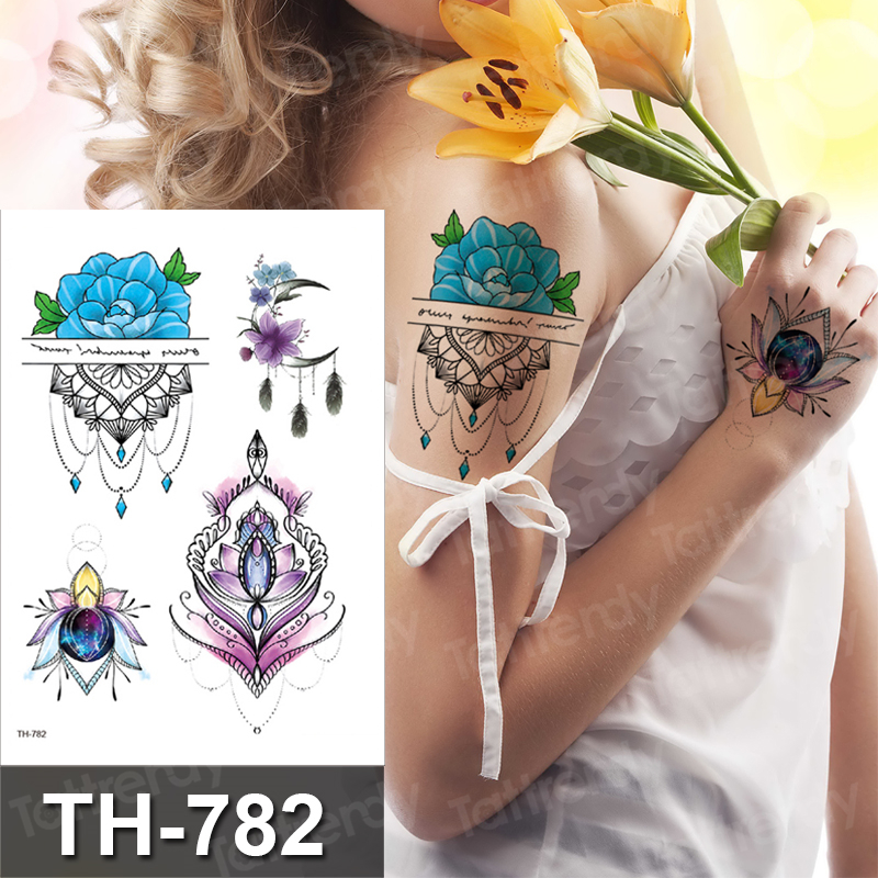 Temporary Tattoo Women Jewelry Lace Hand Rose Tattoo Sticker Flowers Lotus Fake Henna Mehndi Stickers For Hand Arm Breast Decal