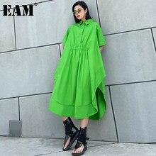 [EAM] kobiety zielony duży rozmiar Ruffles plisowana, na co dzień sukienka nowa z klapami z krótkim rękawem luźny krój mody fala wiosna lato 2021 1DD6748
