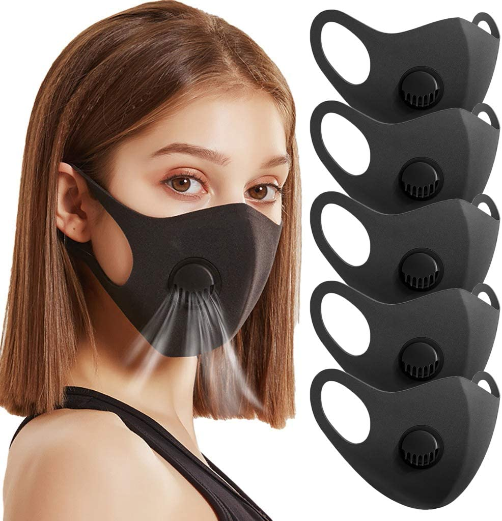 5Pcs Respirator Cotton Breathing Filter Valves Double Layer Black Masks Recycle Dust Marks Mouth Mask