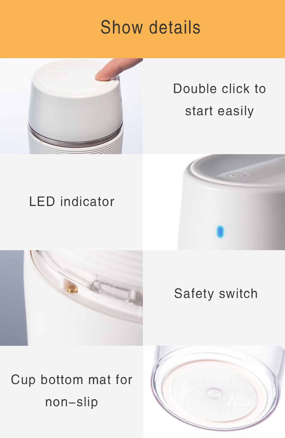 H9d63221a291e40729e6f83cd37fa3142Z XIAOMI MIJIA Bud BR25E Blender Portable Fruit Cup Electric Kitchen Mixer Juicer food processor Machine 300ML Magnetic charging