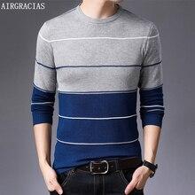 Airgracias 2019 새로운 스웨터 남성 패션 브랜드 풀오버 스트라이프 슬림 피트 니트 모직 가을 캐주얼 남성 의류 당겨 hombre