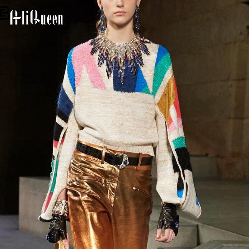 Pullover Sweater Runway Oversized Long-Sleeve Designer Women Brand Autumn Split Flare