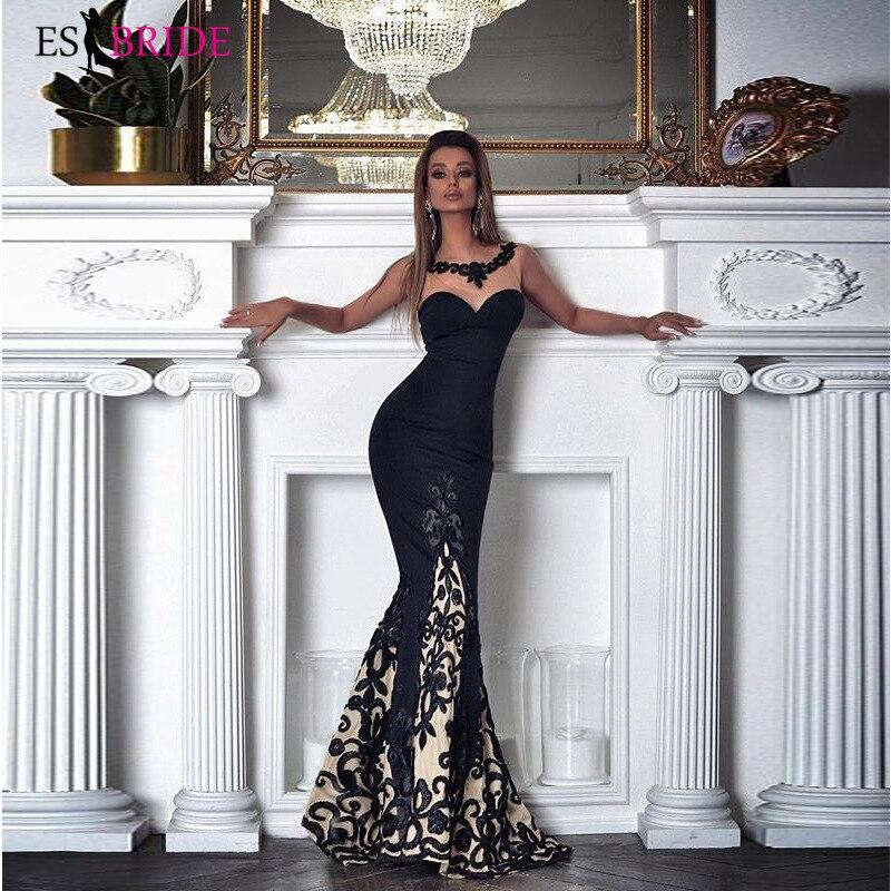 Longues robes De soirée noires 2019 nouveauté élégante décontracté Robe De sirène fête formelle avec manches Robe De soirée ES2601