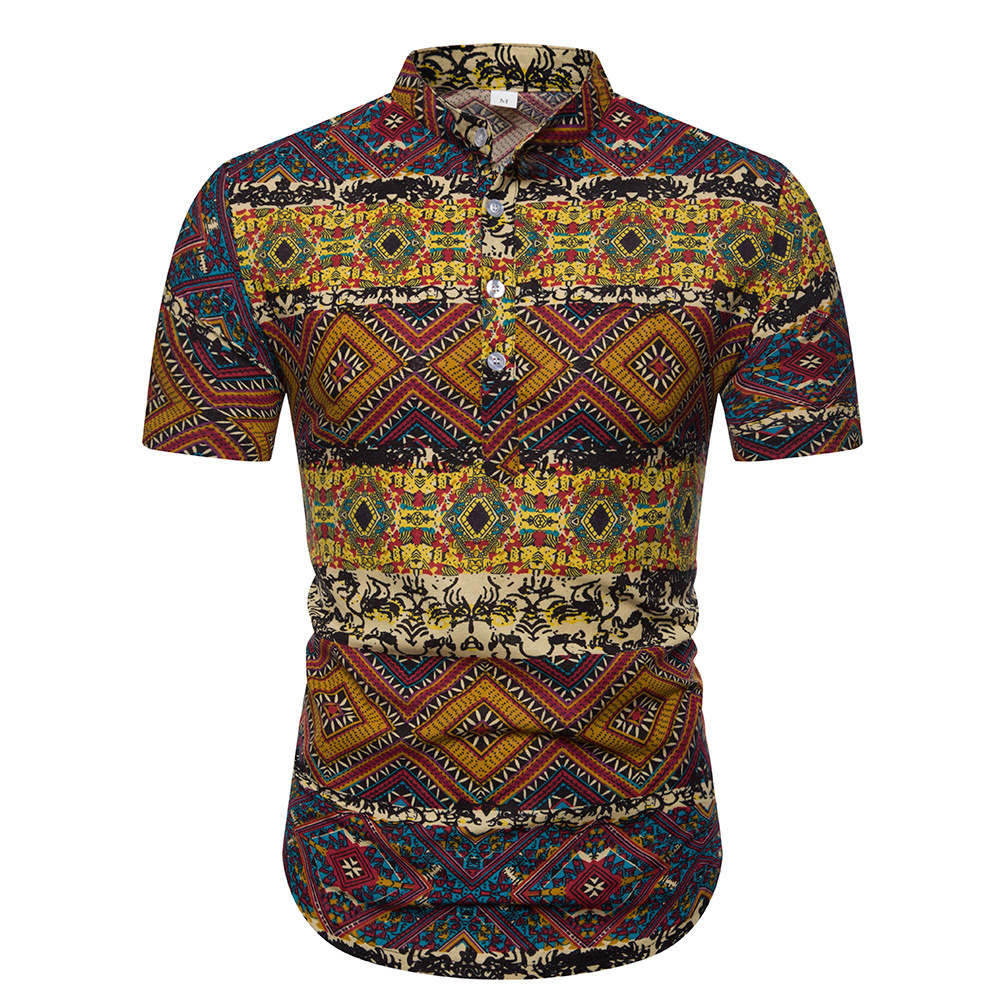 Summer Men's Stand Collar Short-sleeved Shirt Ethnic-Style Series Printed Large Size Shirt Men's