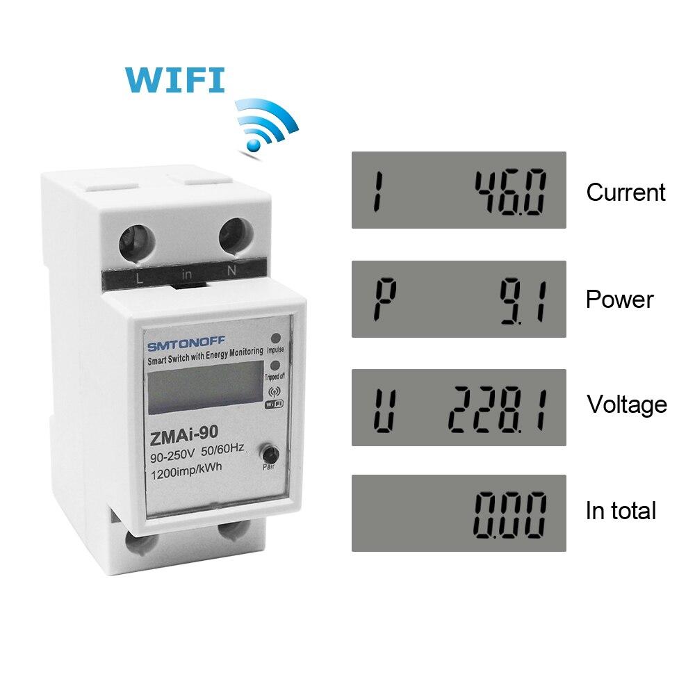 KETOTEK AC 220V Din Rail WIFI compteur d'énergie intelligent Kwh protection de courant de surtension