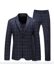 Men Suit Navy Plaid Slim Fit Wedding Suits for Groom Wear Smart Casual Single Breasted Father Day Gift 3-piece Set