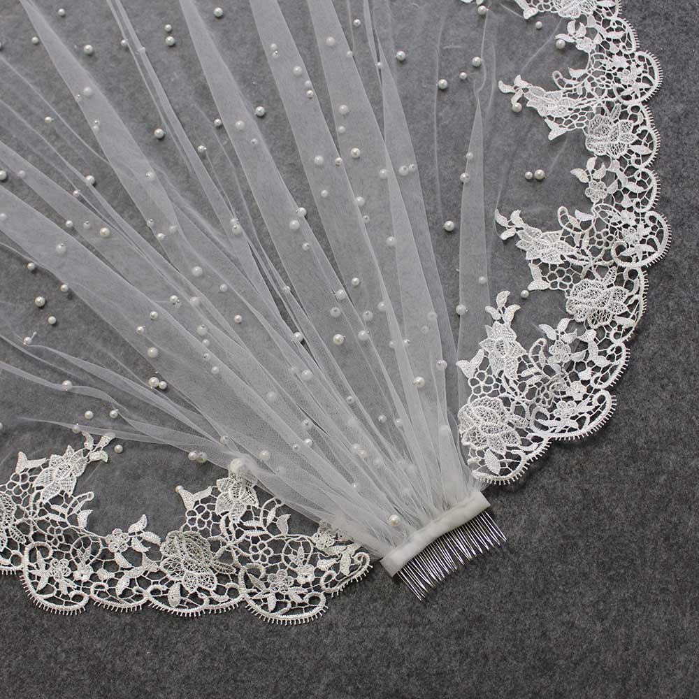Beautiful Pearls Wedding Veil Short Lace Bridal Veil With Comb One Layer Ivory Pearl Veil Wedding Accessories