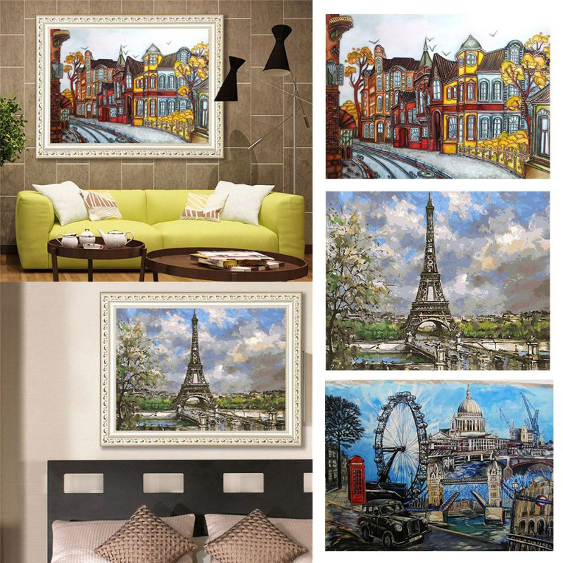 Europe Style DIY Oil Painting Paint Set By Number Kits For Adults Kids Beginners Drawing With Brushes On Linen Canvas