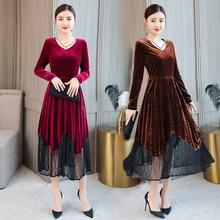 Large size S-XXL vrouwen jurk 2019 Autumn nieuwe hoge kwaliteit V-neck a word pleat Under skirt