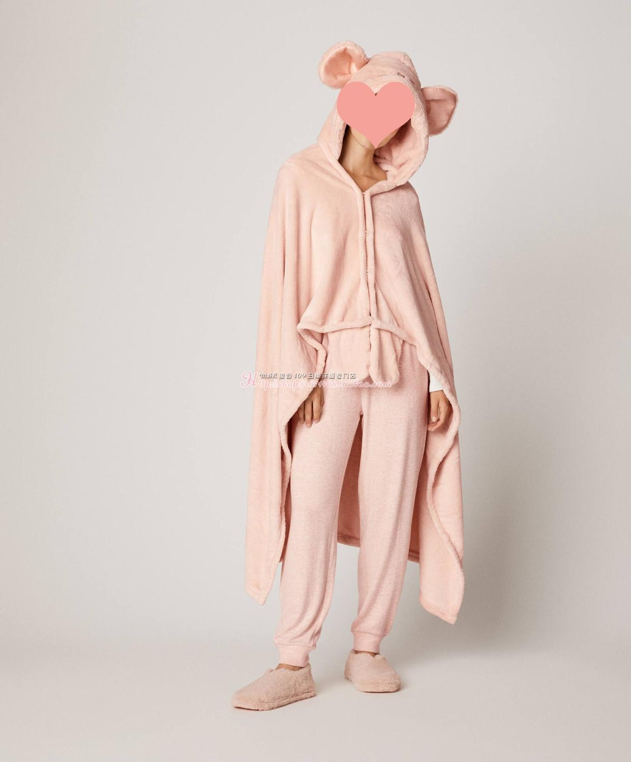 2020 Spain Oysho Pink  Mouse  Cloak Dress Smock Mantle Robes Bathrobe