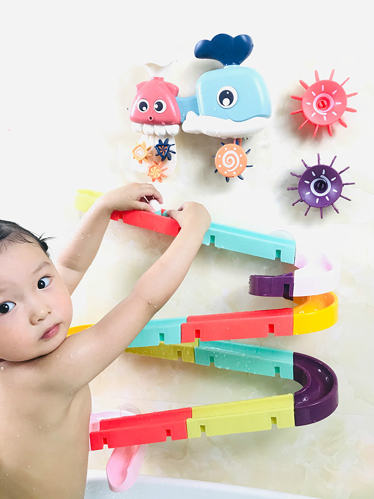 Toy-Set Bath-Toys Wall-Suction-Cup Track Bathroom-Bathtub Marble Play Water-Games Baby
