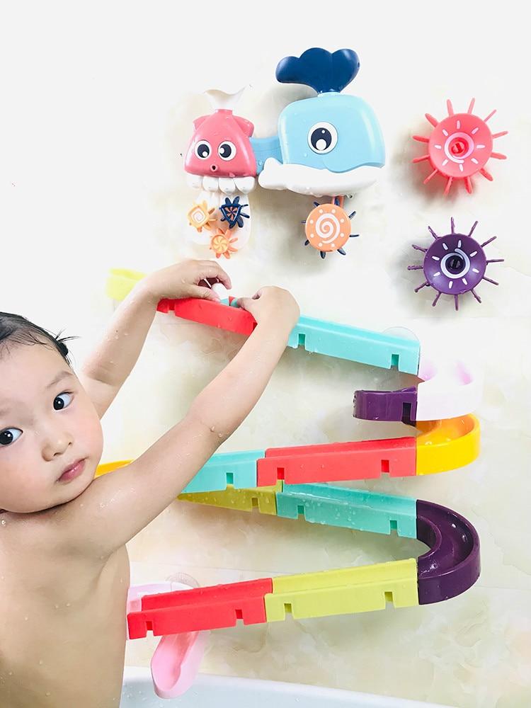 Toy-Set Bath-Toys Wall-Suction-Cup Track Bathroom-Bathtub Marble Play Water-Games Race-Run