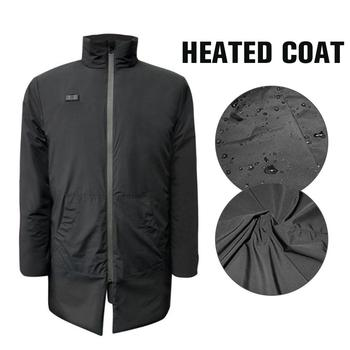 Mens Women Heated Jackets Outdoor USB Heated Coat Long Sleeves Heating Coat Warm Winter Thermal Clothing Temperature Control