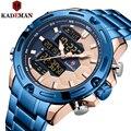 Новинка, Брендовые мужские спортивные часы Kademan, полностью стальной ремешок, светодиодный, двойной дисплей, уникальный дизайн, модные кварц...