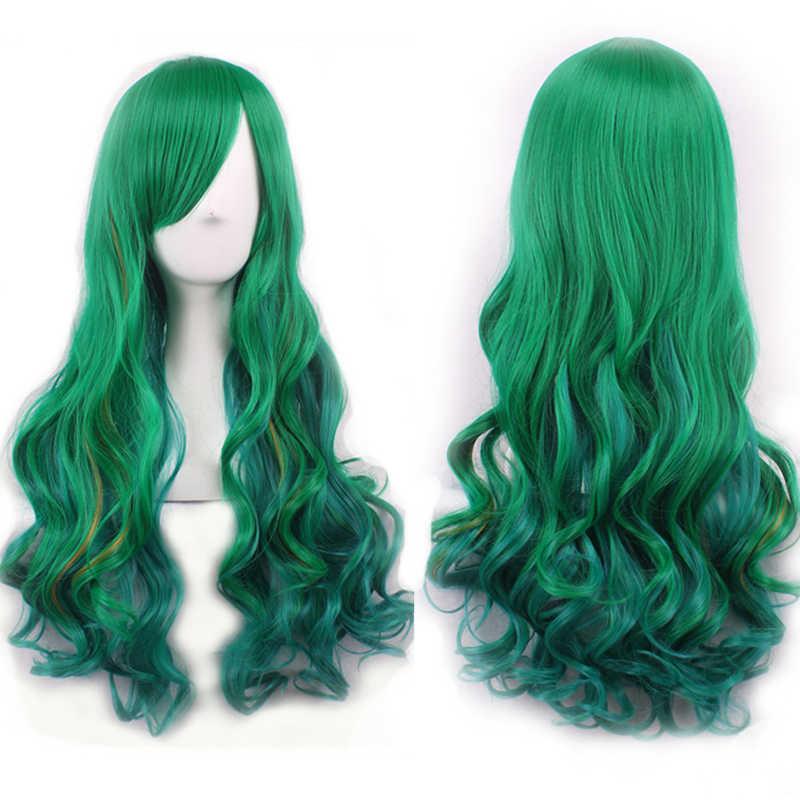 WoodFestival женский разноцветный длинный волнистый черный красный фиолетовый зеленый синтетический парик жаропрочные вечерние парики для косплея с челкой