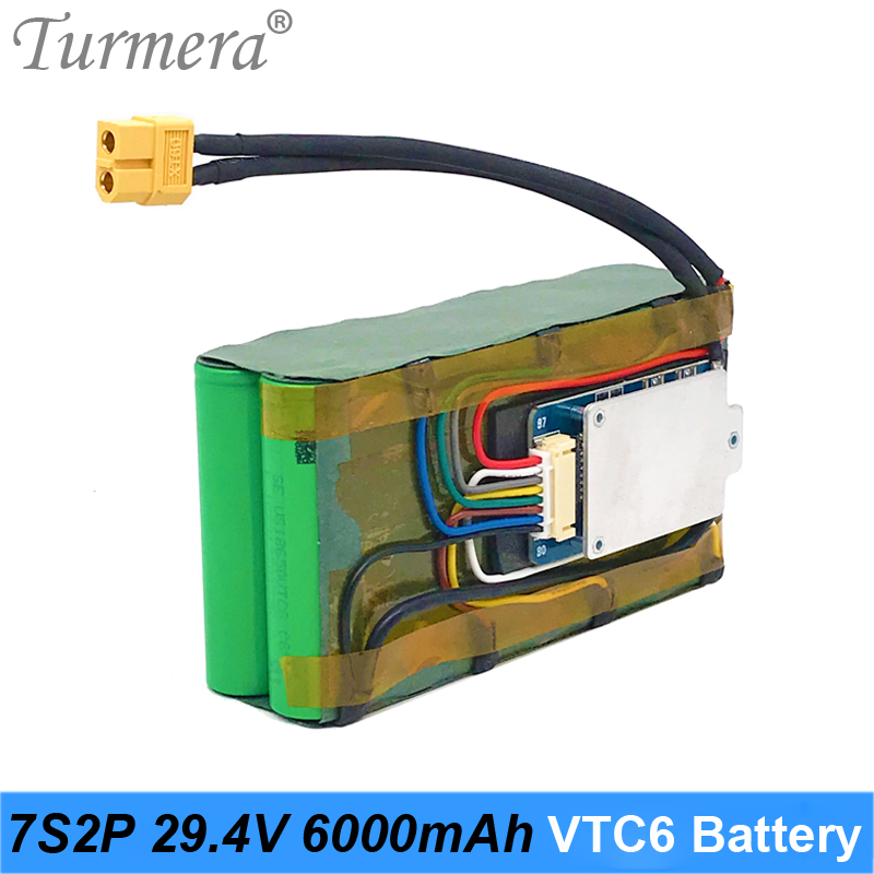 Turmera 29.4V 6Ah <font><b>Battery</b></font> <font><b>Pack</b></font> 18650 VTC6 3000mAh 7S2P 29.4V With <font><b>7S</b></font> 30A BMS for E-scooter E-bike and Uninterrupted Power Supply image