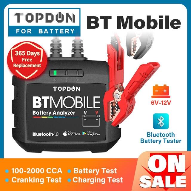 TOPDON جهاز اختبار بطارية السيارة مع Bluetooth ، جهاز اختبار بطارية السيارة ، بلوتوث ، 12 فولت ، لاسلكي ، مراقب بطارية 100 إلى 2000CCA ، شاحن تلقائي ، أداة تحليل كرنك