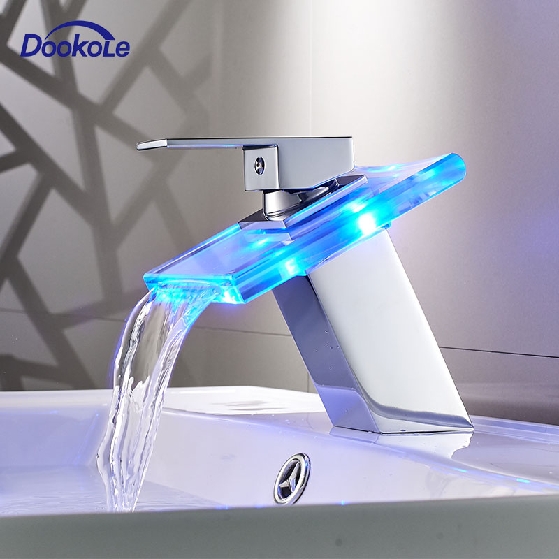 Bathroom LED Light Basin Faucet, Waterfall Glass Spout 3 Colors Changes Sink Faucet, Cold And Hot Water Mixer Sink Tap