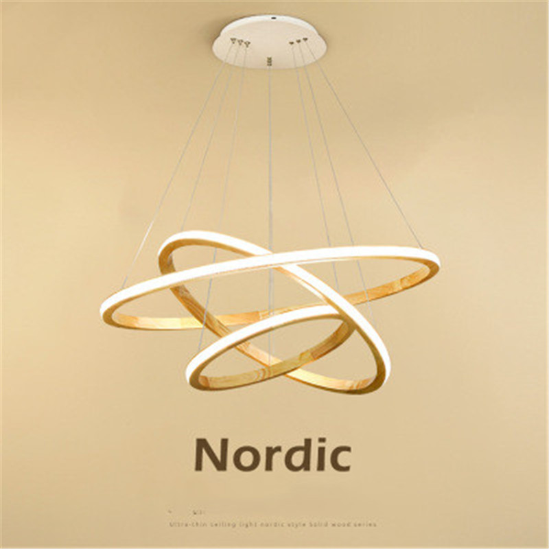 Nordic Loft Solid Wood Circle Chandelier Postmodern Ring Shape Lamps Living Room Bedroom Led Indoor Light Fixtures|Pendant Lights| |  - title=