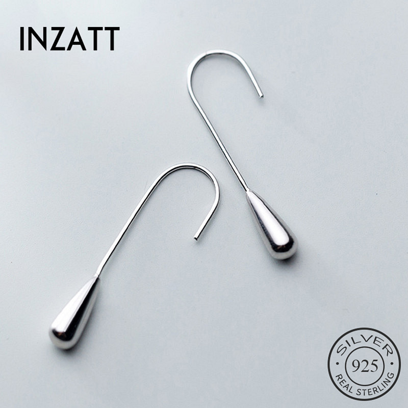 INZATT Real 925 Sterling Silver Geometric Water Stud Earrings For Fashion Women Party Minimalist Fine Jewelry Punk Accessories