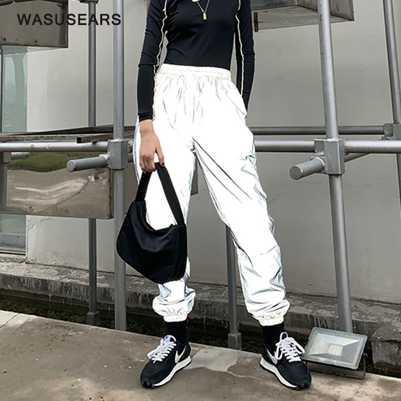 Reflective-Pants Baggy-Trousers Neon Joggers Woman Loose Korean Casual Women Fashion title=
