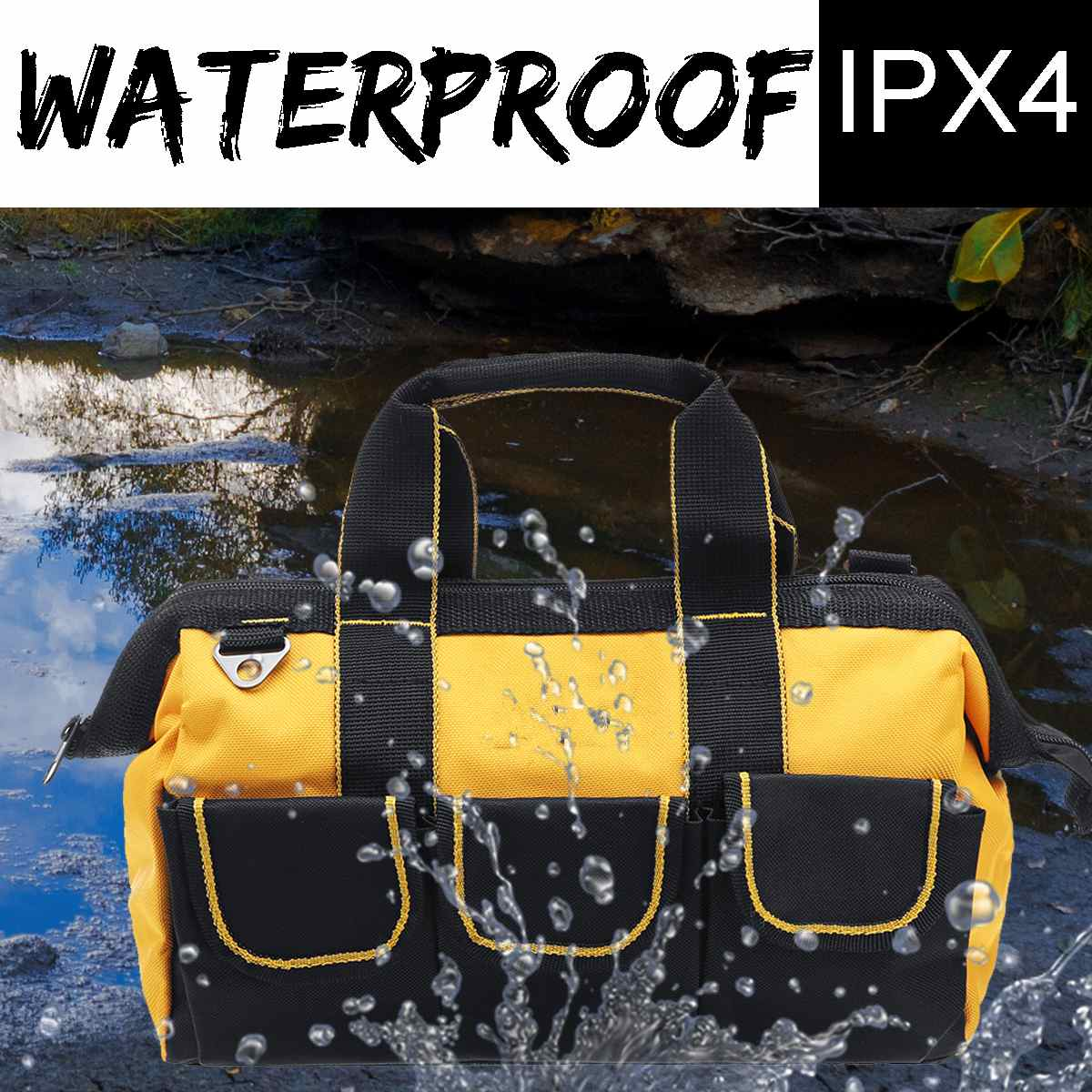 13inch Nylon Large Tool Bag Hand-held Shoulder Electrician Bag With Adjustable Strap Screwdrivers Drill Zipper Toolbag Portable