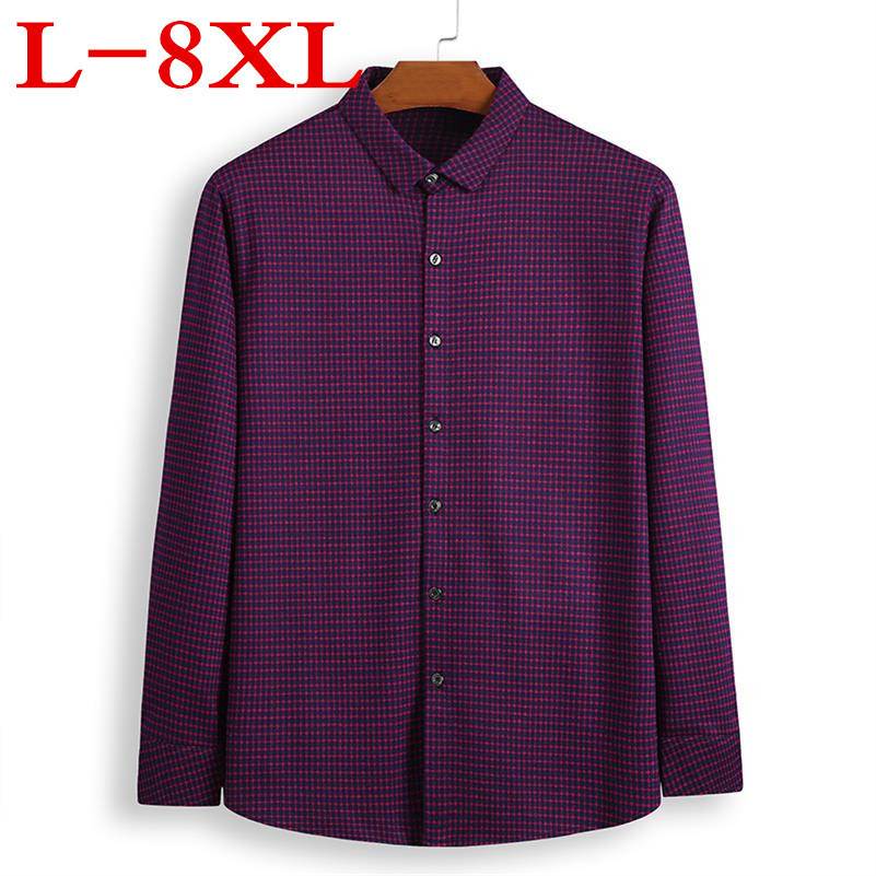 Big Size Plus Size 8XL 7XL 6XL 5XL Men Long Sleeve Shirt  New Men's Casual Fat Fat Plaid Shirt Male Shirt Big Violet