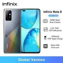 Infinix nota 8 smartphones android 6gb 128gb 6.95 Polegada hd + mtk helio g80 octa-core 64mp quad câmera traseira 5200mah celulares